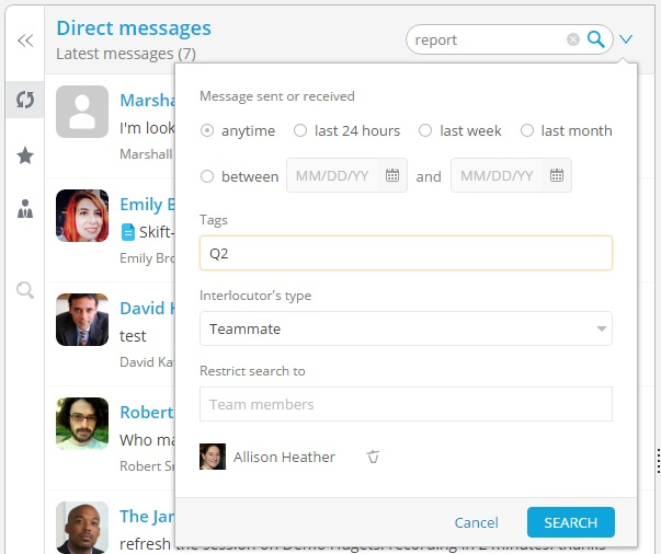 Direct messages search