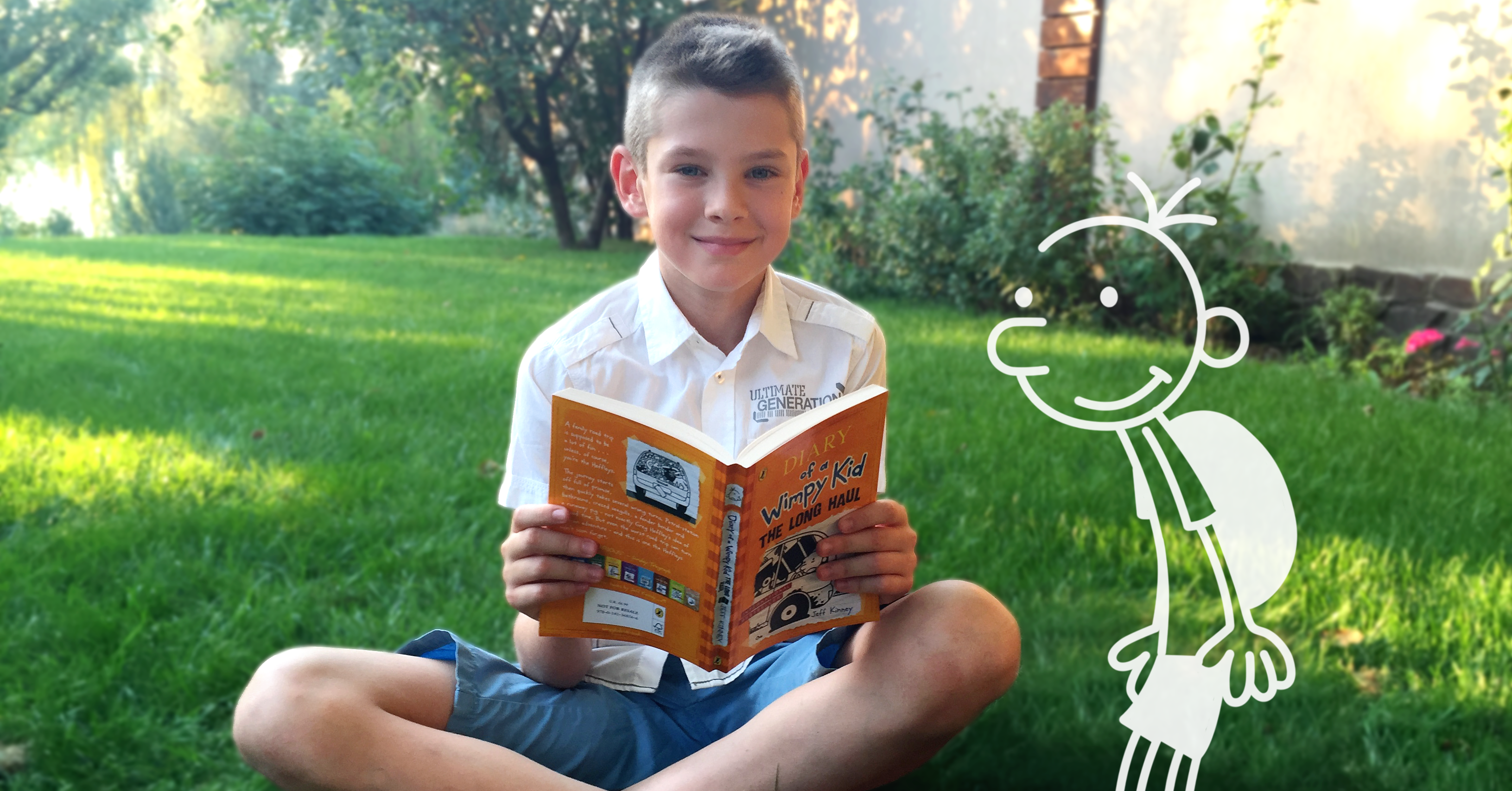 My son reading the Diary of a Wimpy Kid by Jeff Kinney